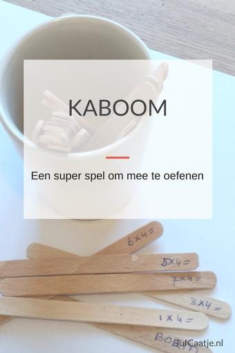KABOOM! Een super spel om mee te oefenen Kaboom, of op z'n Nederlands Boem, is een van mijn favoriete spellen. Je kunt het gebruiken voor het oefenen van tafels, sommen tot tot 20, maar bijvoorbeeld ook voor woordenschat. Het is simpel om te maken en het spel verloopt snel. Wat is het? Voor het spel heb je een aantal ijsstokjes nodig en een bekertje. Op de ijsstokjes schrijf je de feiten die geoefend moeten worden, bijvoorbeeld de sommen van de tafel van drie. Op twee of drie extra stokjes schrijf je KABOOM. Het is wel fijn om ongeveer 20 stokjes te hebben, maak eventueel twee stokjes voor elke som. Zet de ijsstokjes met de sommen naar beneden in het bekertje, zodat de sommen en KABOOM niet te zien zijn. Het spel kan beginnen. Hoe werkt het? Om beurten pakt je een ijsstokje. Heb je het antwoord goed, mag je de het ijsstokje houden. Is het fout, dan gaat het stokje terug in de beker. Trek je een stokje met KABOOM gaan alle ijsstokjes die je hebt terug in de beker, ook het ijsstokje met KABOOM. In je volgende beurt begin je weer opnieuw met verzamelen. Degene met de meeste stokjes aan het eind van het spel heeft gewonnen. Dat je op elk ogenblik je verdiende stokjes weer kwijt kan raken houdt het spannend. Wanneer stopt het spel? Je kunt het spel stoppen na een bepaalde tijd, bijvoorbeeld na vijf minuten. Een alternatief is stoppen als er nog vijf stokjes in het bekertje zitten. Is het antwoord goed? Hoe weten kinderen of het antwoord goed is? Een lijst met de goede antwoorden, die op z'n kop ligt als gespeeld wordt is ideaal. Zo leren kinderen zichzelf geen foute antwoorden aan en kunnen ze zelfstandig spelen. Extra regels bij het spelen tegen een leerkracht/ouder Ik speel Kaboom ook wel eens tegen een kind. Niet eerlijk natuurlijk, want ik weet alle antwoorden. In dat geval zet ik een extra spelregel in. Ik maak af en toe opzettelijk een fout en als een kind mij daarop betrapt, gaat het stokje naar hem. Wat kan je er mee oefenen? Eigenlijk alle feiten kan je met KABO